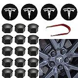 Topfit Kit coprimozzo Set coprimozzo Centrale Copridado Dado Coperchio Logo Centrale Modifica Emblema Coprimozzo per Model Y Model 3 Model S Model X (White)