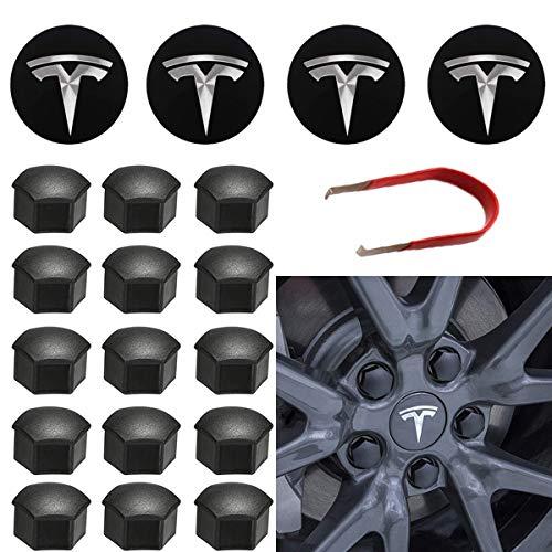 Topfit für Tesla Radkappen-Kit Center Radkappen-Set Radmuttern Mutter-Abdeckung Mitte Logo Emblem Änderung Nabenabdeckung für Model Y Model 3 Model S Model X