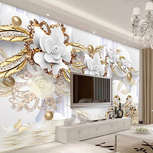 Lllyzz Aangepaste zijden doek muurschildering behang 3D gouden bal witte bloemen foto muurschildering woonkamer tv sofa luxe decor sticker-350X250Cm