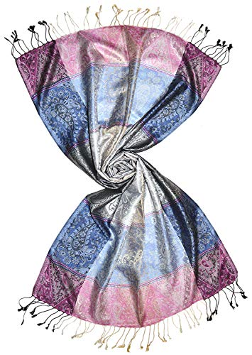 Lorenzo Cana Luxus Herren - Schal Schaltuch jacquard gewebt 100% Seide Paisley Muster Seidenschal Seidentuch Hellblau Rosa 7864011