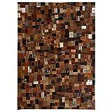 LIUBIAONET Alfombra Patchwork de Etiquetas de Vaqueros marrón 120x170 cm