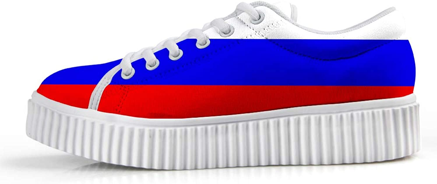 Owaheson Platform Lace up Sneaker Casual Chunky Walking shoes Low Top Women Russian Flag