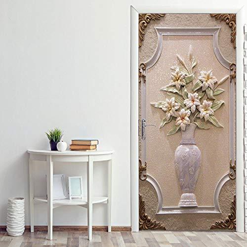 Iejsgfj 3D Adesivo per Porte Vaso Elegante Autoadesivo Soggiorno cameretta Ristorante Hotel Café Office Decorazione (88X200Cm)