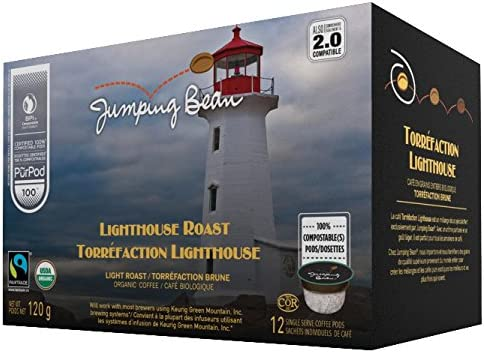 Jumping Bean Lighthouse Lightroast Fairtrade Organic 100 Compostable Coffee Pods 12ct product image