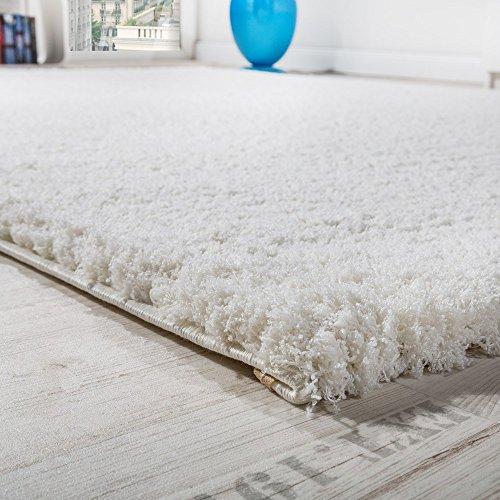 Paco Home Shaggy Teppich Micro Polyester Wohnzimmer Elegant Strapazierfähig Hochflor Creme, Grösse:160x220 cm