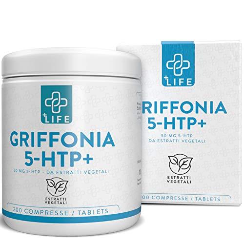 Griffonia 5HTP Piulife  200 Capsule da 400 mg di Estratti Vegetali Fonte di Triptofano  Integratore Sonno Dormire Bene, Contrasta la Fame  Serotonina Integratore Forte