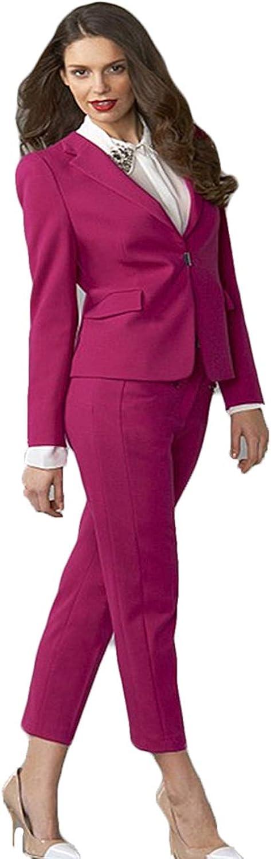 Fuchsia Womens Business Suits Slim Fit Female Office Uniform Ladies Trouser Suits Formal Evening Tuxedo 2 Piece Blazer