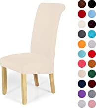 Velvet Stretch Dining Chair Slipcovers - Spandex Plush Short Chair Covers Solid Large Dining Room Chair Protector Home Decor Set of 6, Ecru