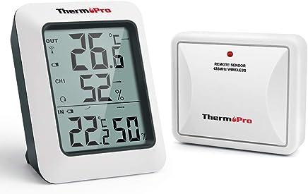 ThermoPro TP60S Termometro Igrometro da Interno Esterno Stazione Meteo Wireless Termoigrometro Digitale con Sensore Esternal per Casa Ambiente Misura di Umidità e Temperatura