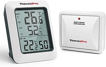 ThermoPro TP60S Funk Thermo-Hygrometer Thermometer Hygrometer Klima-Monitor Funkwetterstation mit Funk-Außensensor, Reichweite bis zu 60m