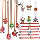 HOWAF Navidad Llavero (6pcs) Navidad Pulsera de Silicona (6pcs) Navidad Led Luz Collar (6pcs) para piñata, Fiesta Navidad decoración, Artículos de Fiesta de Navidad Regalo para Niños niñas