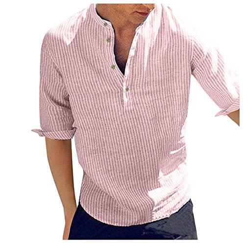 Dasongff Camisa de hombre de manga corta con cuello alto, para tiempo libre, a rayas, camisa de verano, camisa de negocios, ajustada, informal, ligera, monocromática, básica