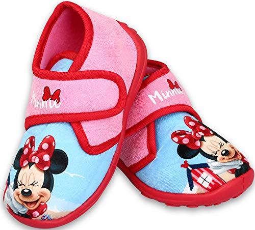 Coole-Fun-T-Shirts Minnie Mouse Mädchen Hausschuhe hoch geschlossen Klettverschluss rutschfeste Sohle 24 25 26 27 28 29 weich gepolstert (29 EU)