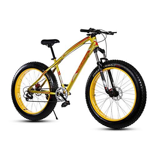XRQ Mountain Bike 26 Zoll 21/24/27 Geschwindigkeit Männer Hardtail Mountainbike Carbon Steel Mountainbike Full Suspension Fahrrad All Aluminiumlegierung-Mechanische Scheibenbremse,Gold,27 Speed