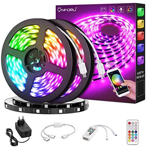 Onforu 20M Alexa RGB Tira LED, Wifi Tira Inteligente Compatible con Google Home, Smart LED Tira Luz con 16 Millones de Colores y Sincronización de Música para Navidad, Fiesta, Decoración, Hogar,Cocina