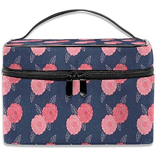 Sac cosmétique de Voyage Roses Roses Deep BlueToetry Makeup Bag Pouch Tote Case Organizer Storage pour Femmes Filles