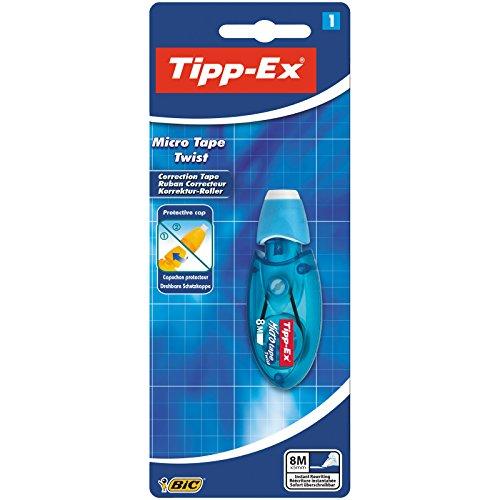 Tipp-Ex Korrekturroller Micro Tape Twist mit drehbarer Schutzkappe, 1 Maus in Blau oder Rot, Korrekturband 8m x 5mm