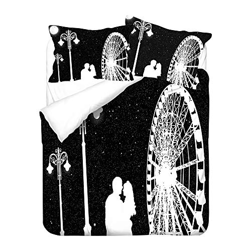 Chickwin Bettbezug Set 4 Teilig, 3D Drucken Modern Bettwäsche-Set 4 TLG Bettwäsche Set Mikrofaser Weiche mit Reissverschluss Bettbezug Kissenbezüge Bettlaken (135x200cm,Schwarz)