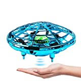 Hand Operated Drone for Kids Adults, Flying Toys Mini Drones, Hands Free UFO Helicopter, Easy Indoor Outdoor Flying Ball Drone Toys with Infrared Sensor Auto 360° Rotating for Boys Girls (blue)