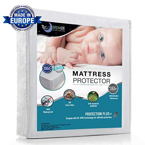 Dreamzie - Matratzenschoner 80 x 190 cm Wasserdicht - Atmungsaktive Matratzenauflagen 100% Baumwolle - Matratzen Topper Anti-Allergisch, Anti-Milben & Hygienischer - 15 Jahre Garantie