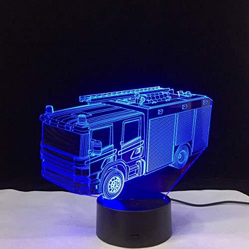 Lampe Illusion 3D,Camion De Pompiers Veilleuse Lumière De Nuit Led Usb Lampe De Chevet Avec 7 Couleurs Changeables Cadeau Parfait Pour Enfant De L'Emfance Fête Anniversaire De Noë