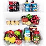 JinaMart Refrigerator Organizer Bins | Fridge Storage Bins | Organizer Bins For Freezer & Fridge Set of 6 Large Packs | BPA Free Clear Stackable Plastic Organizer Bins with Handles (6 PCS)