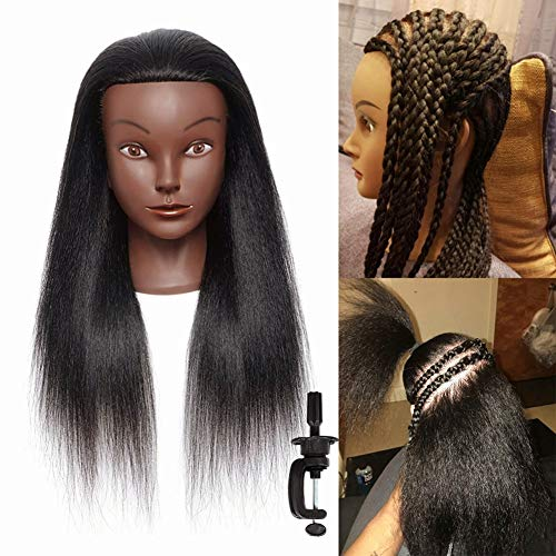 """Mannequin Head With Human hair with Stand - 16"""" 100% Real Afro Human hair Hairdresser Cosmetology Mannequin Manikin Training Head Hair and Clamp Holder"""