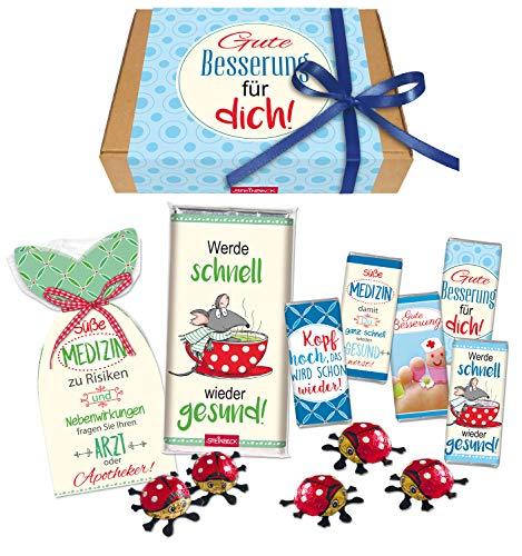 STEINBECK Gute Besserung Geschenkbox Geschenk Süße Medizin Mitbringsel Präsentkorb Geschenkkorb Geschenkset Schokolade Fruchtgummi süß Krankenbesuch Erkältung Genesungswünsche