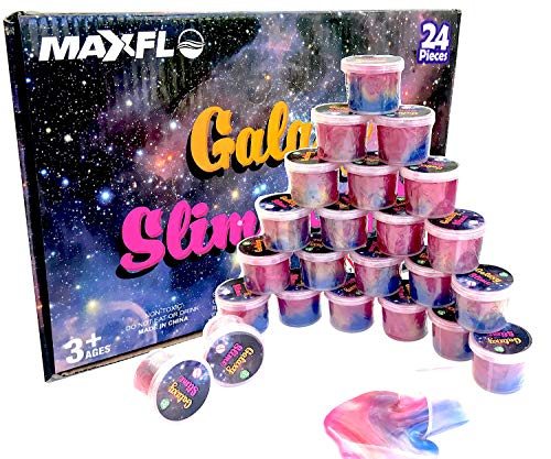 Slime Party Favors [24 Pack] Galaxy Slime | Party Favors for Kids Girls & Boys | Space Party Favors | Slime Cups | Slime Bulk | Kids Slime | Adults, Non Sticky, Stress & Anxiety Relief, Super Soft Sludge Toy
