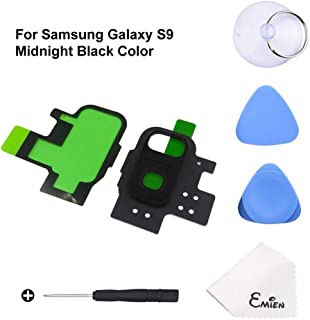 EMiEN Rear Back Camera Glass Lens Cover + Rear Camera Bezel Frame with Adhesive Replacement Parts for Samsung Galaxy S9 G960 with Repair Tool Kit (Midnight Black)