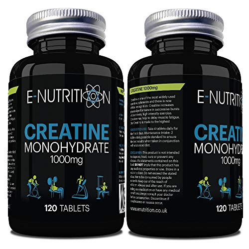 1000mg Creatine Monohydrate 120 Tablets | High Strength Supreme Creatine | Muscle Growth and Powerful Strength | Made in The UK | E-Nutrition