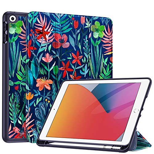 Fintie SlimShell Case for New iPad 8th Gen (2020) / 7th Generation (2019) 10.2 Inch - [Built-in Pencil Holder] Soft TPU Protective Stand Back Cover with Auto Wake/Sleep, Jungle Night