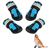 Ufanore Dog Boots, Outdoor Waterproof Dog Boots with Reflective Strip and Adjustable Straps Rugged Anti-Slip Sole Dog Shoes 4 Pcs (4#: 2.56''x1.97''(LW), Blue)