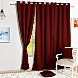 Story@Home Blackout Faux Silk Superior 2 Piece Plain Solid Door Curtains, 7 feet