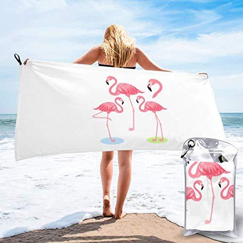 CHUNXU Schnell trocknendes Strandtuch, vier Flamingos bedruckte Mikrofaser, leichte...