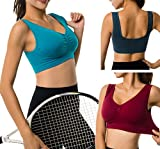 Cabales Women's 3-Pack Seamless Wireless Sports Bra with Removable Pads,Navy/Blue/Wine,XXX-Large