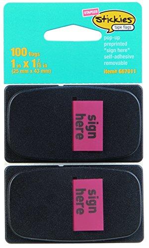Staples Stickies 1' 'Sign Here' Banderas con dispensador pop-up, rojo, 2 unidades (14112)