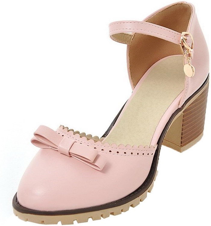 AllhqFashion Women's Closed-Toe Buckle Pu Kitten-Heels Sandals, FBULD014309