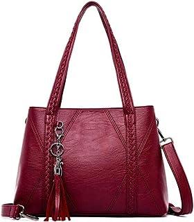 New Leather Tassel bags Large Capacity Women Shoulder Messenger Bag Handbag Big Handbags,Red,S