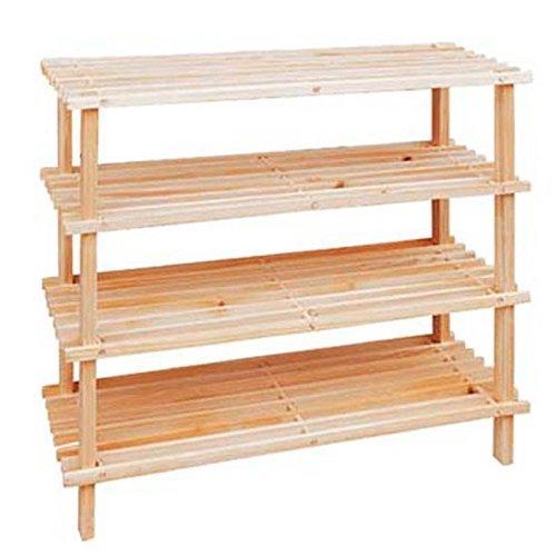 Diech Zapatero de madera multiusos | Organizador de 2/3/4 niveles | Ideal para el hogar y la oficina, entrada de entrada/dormitorio/sala de estar (4 niveles)