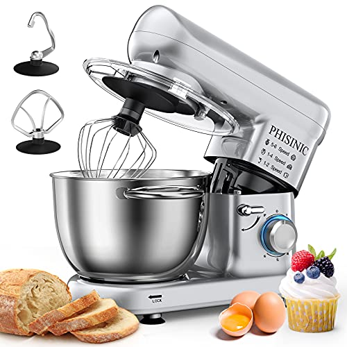 PHISINIC Stand Mixer, 5.8-QT 660W Household Stand Mixer, Tilt-Head Food & Dough Mixer, 6-Speed Kitchen Electric Mixer with Dough Hook, Wire Whip and Beater, for Baking, Cake, Cookie, Kneading (Silver)