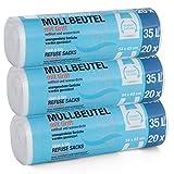 3x 20 Stück Müllbeutel mit Griff/Henkel 35 Liter Premiumline - Besonders reißfest und...