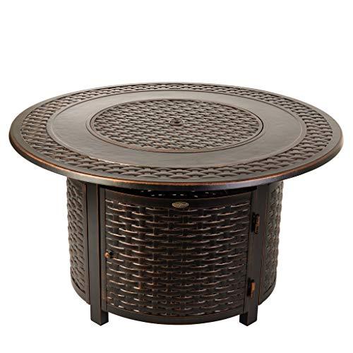 Fire Sense 62195 Bellante Woven Aluminum LPG Fire Pit, Antique Bronze