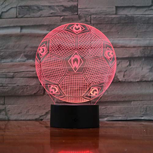 Farben ändernde Illusionslampe 3D Sportverein Fußballnachtlichter 3D Schreibtischlicht Luminaria Werder Bremen Fußballlampe 3D