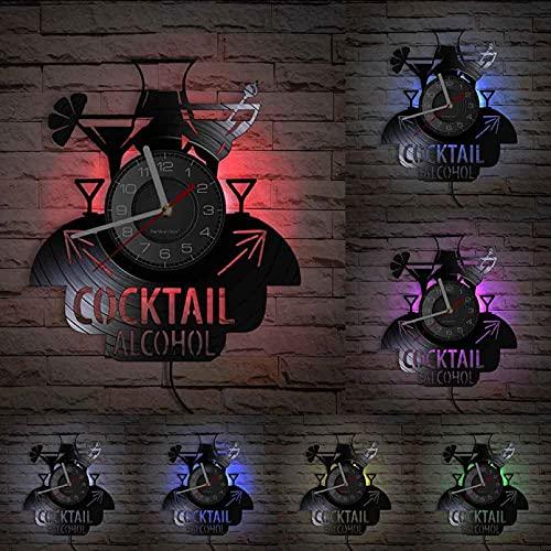 MASERTT Cóctel Alcohol Hora de Fiesta Disco de Vinilo Reloj de Pared Fruta Vino Inicio Bar Pub Decoración Cocina Comedor Decoración Relojes artesanales-con LED