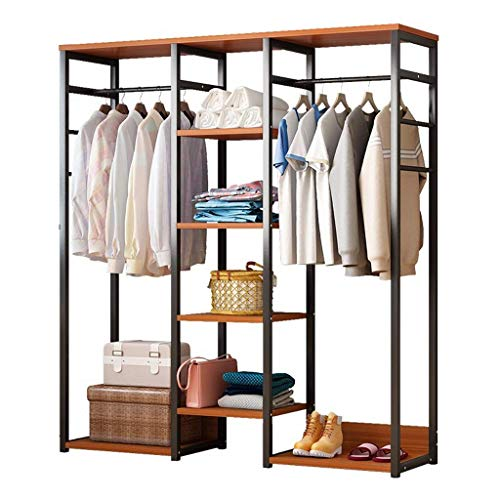 CENPEN Free-standing Closet, Multifunction Large Garment Rack with Storage Hanging Rods Steel Frame Heavy Duty Clothes Organizer