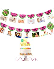 Watermelon Photo Banner 1st Birthday Cake Topper 12 Month Photo Summer Fruit Themed Birthday Party Supplies Decorations for Baby Girl Party Decor