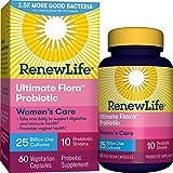Renew Life #1 Women's Probiotics 25 Billion CFU Guaranteed, 10 Strains,  Shelf Stable, Gluten Dairy & Soy Free, 60 Capsules, Ultimate Flora Women's Care - 60 Day Money Back Guarantee