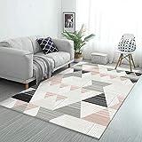 DPJS Tapis Rug Simple Triangle Rayé Tridimensionnel Couture Irrégulière Salon Chambre Cuisine Chevet Pad,100x160cm