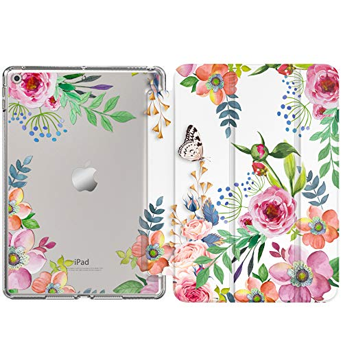 MoKo Case Fit New iPad 8th Generation 10.2' 2020 / iPad 7th Gen 2019,iPad 10.2 Case with Stand, Soft TPU Translucent Frosted Back Cover Slim Shell for iPad 10.2 inch, Auto Wake/Sleep,Fragrant Flowers